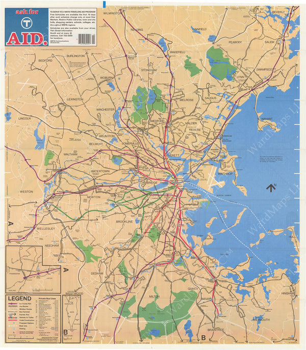 Boston, Massachusetts MBTA System Route Map 1982