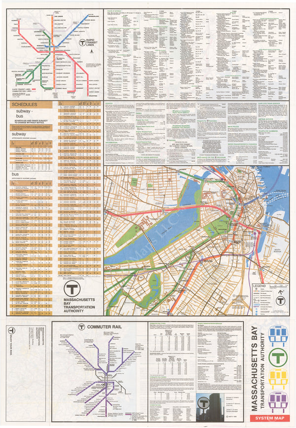 Boston, Massachusetts MBTA System Route Map 1988 Side B