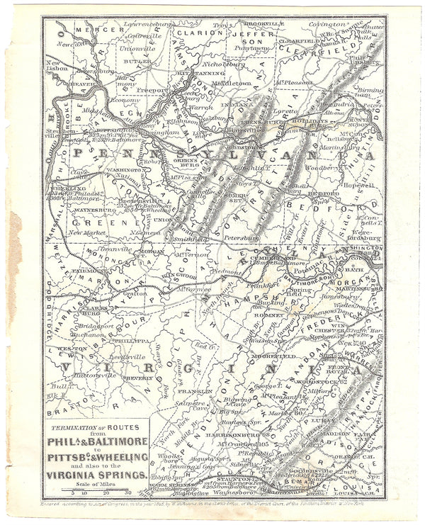 Railroads Serving Western Pennsylvania, Western Maryland, and Northern West Virginia 1848