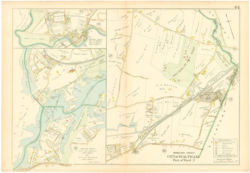 Middlesex County, Massachusetts 1900 Vol. 1: Plate 044 Waltham and Newton