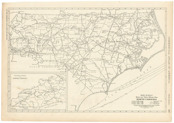 North Carolina 1925: Mileage Map