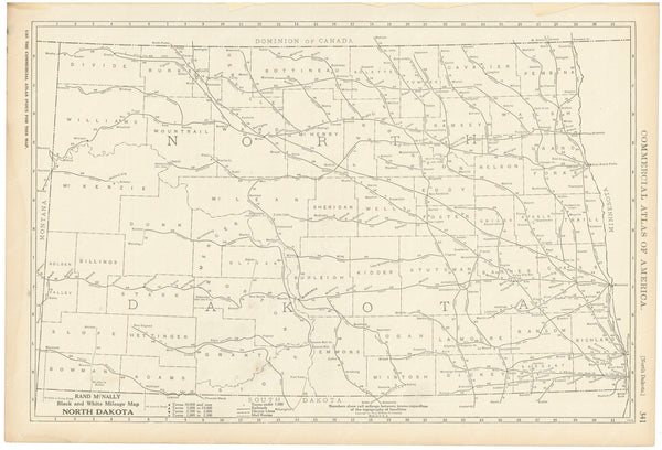 North Dakota 1925: Mileage Map
