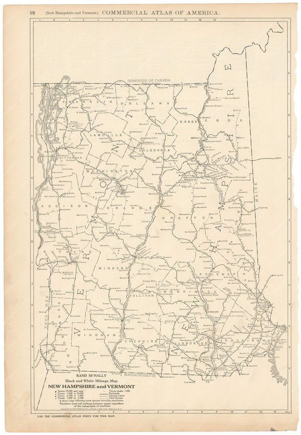 New Hampshire and Vermont 1925: Mileage Map