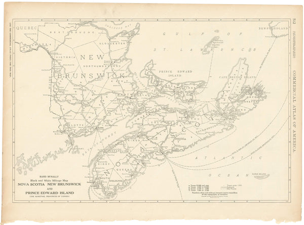 New Brunswick, Nova Scotia, and Prince Edward Island 1925: Mileage Map