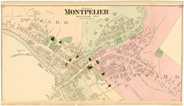 Montpelier, Vermont 1873: Downtown North