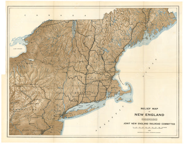 Northeastern United States Relief Map 1923
