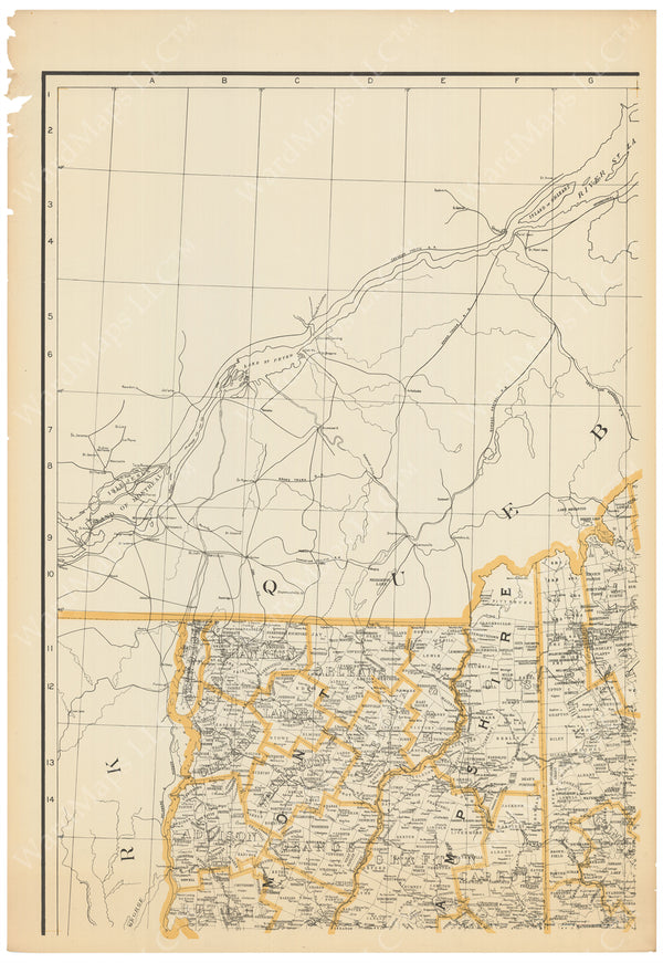 New England Circa 1910 Four-Part Map: Northwest Sheet