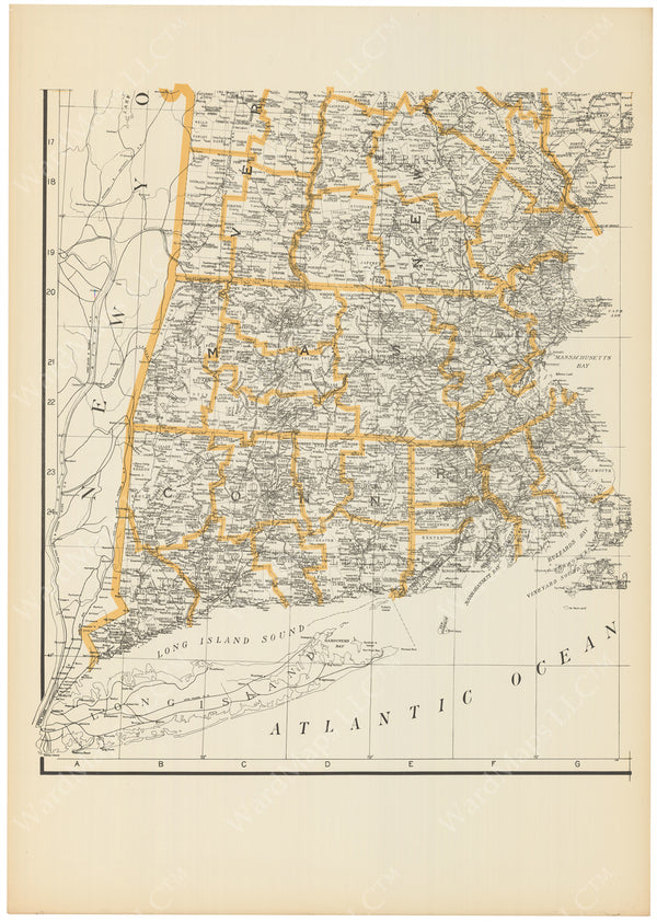 New England Circa 1910 Four-Part Map: Southwest Sheet