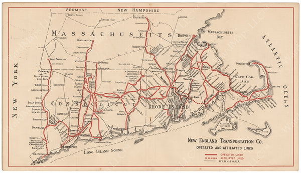 New England Transportation Co. System Map 1927