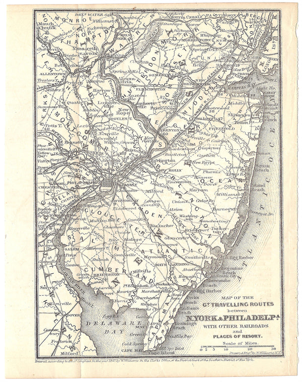 Railroads Serving New York City, Philadelphia, and New Jersey 1848