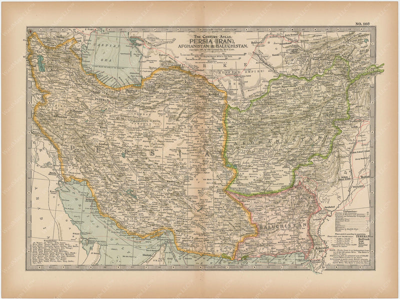 Persia (Iran), Afghanistan, and Baluchistan 1897
