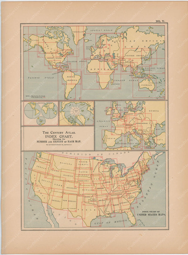 Century Atlas of the World 1897 Index Maps