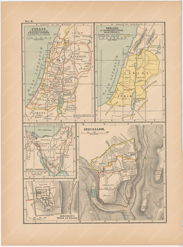 Classical Map 1897 no. X: Ancient Canaan, Israel, and Jerusalem