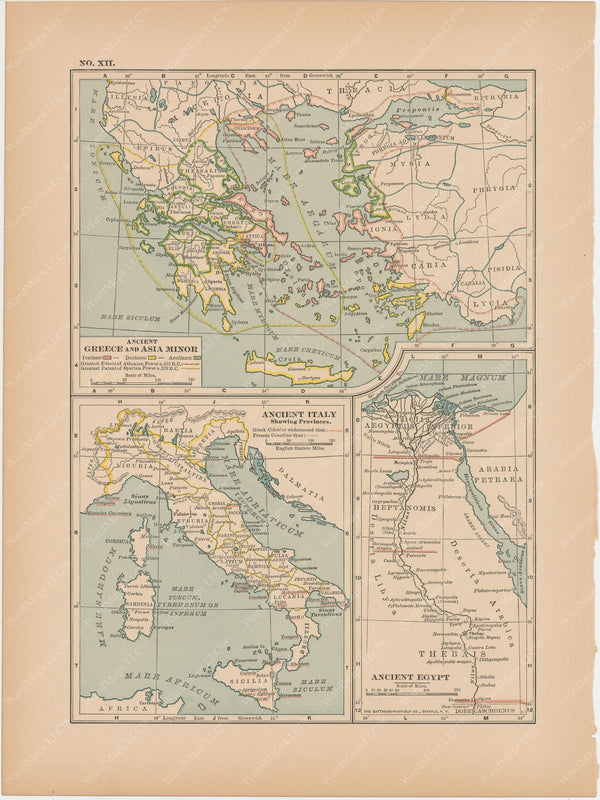 Classical Map 1897 no. XII: Ancient Greece, Italy, and Egypt