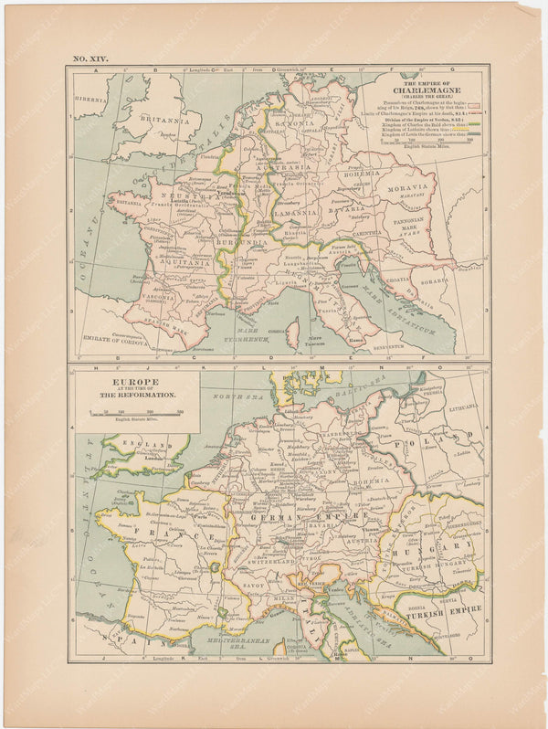 Classical Map 1897 no. XIV: Empire of Charlemagne and Europe at the time of the Reformation