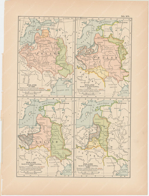 Classical Map 1897 no. XV: Poland in the 17th and 18th Centuries