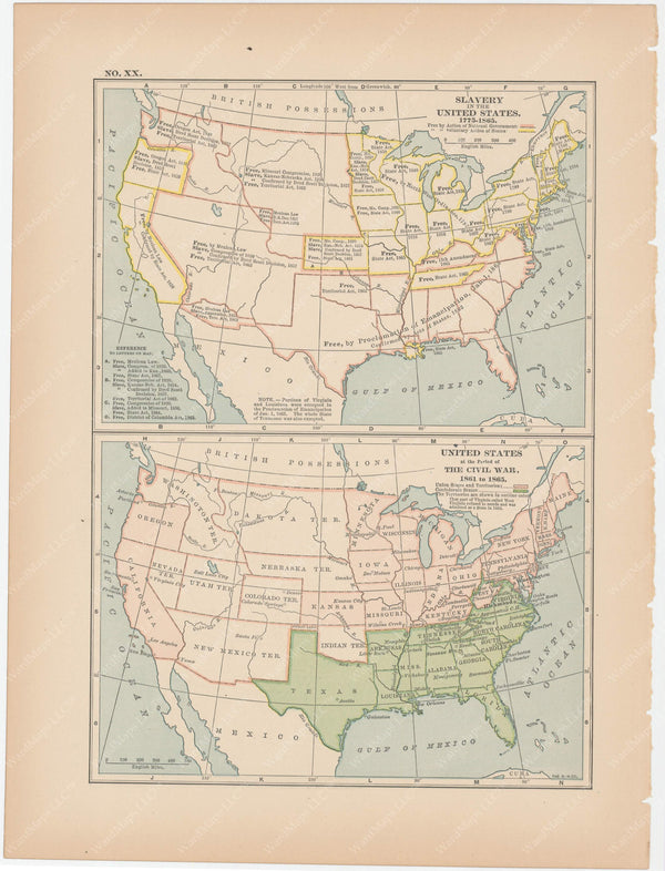 Classical Map 1897 no. XX: United States Slavery and Civil War