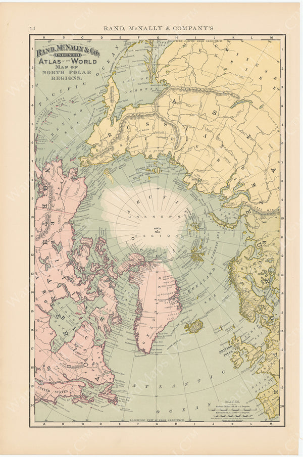 World Map 1891: North Polar Region