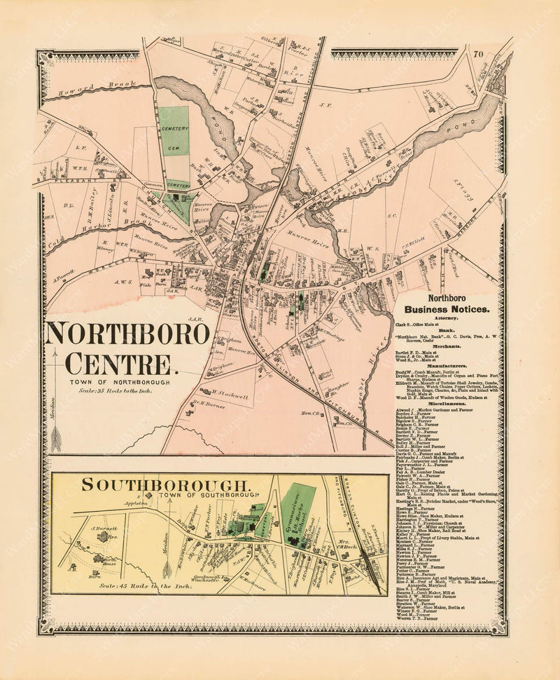 Northborough and Southborough Centers, Massachusetts 1870