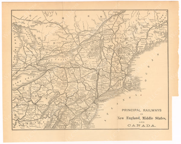 Principal Railways in New England, Middle States, and Canada 1887