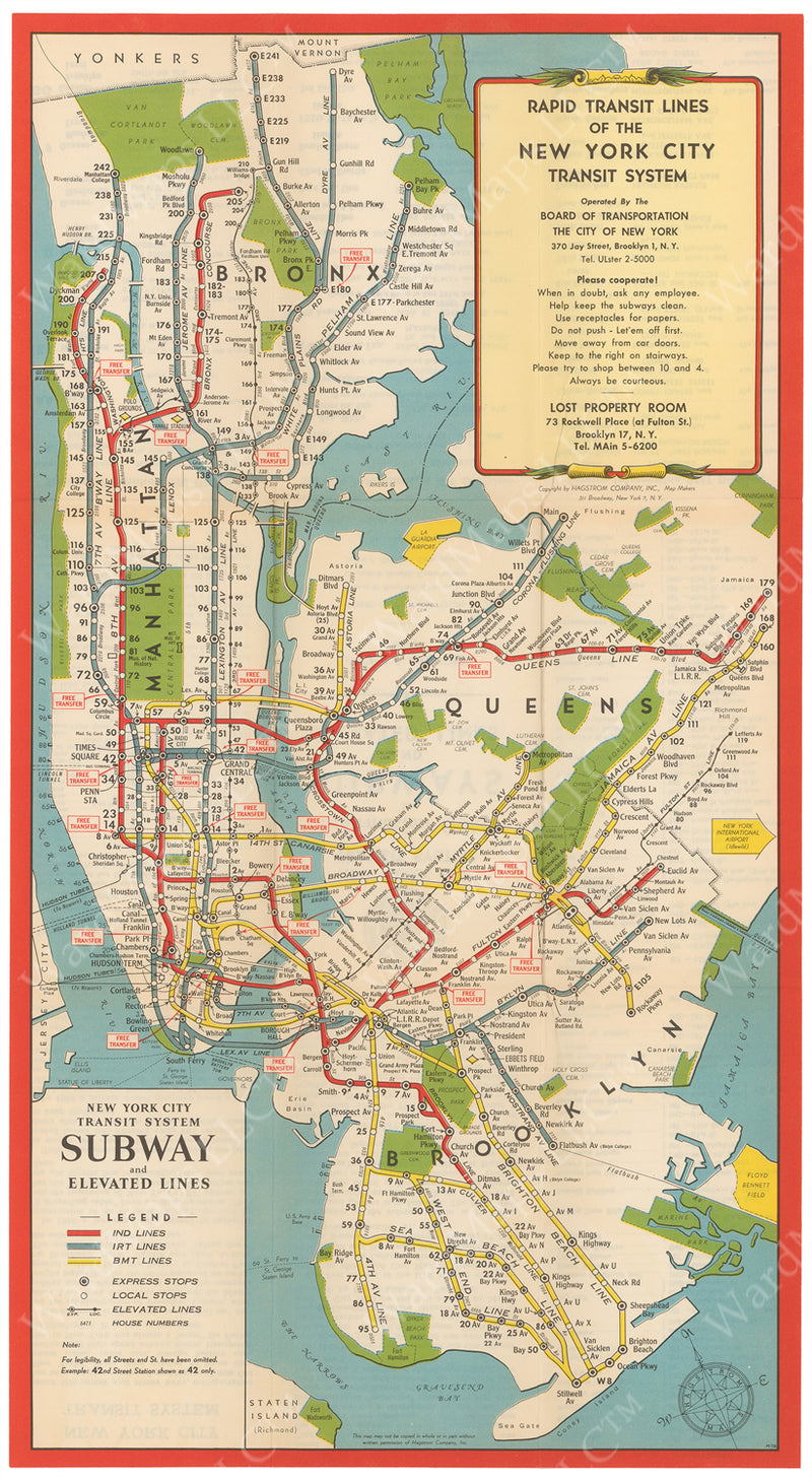 New York City Subway Map 1952 Dec. 15