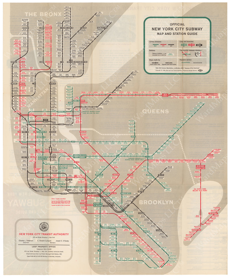 New York City Subway Map 1958
