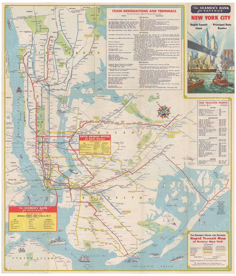 New York City Subway Map 1957