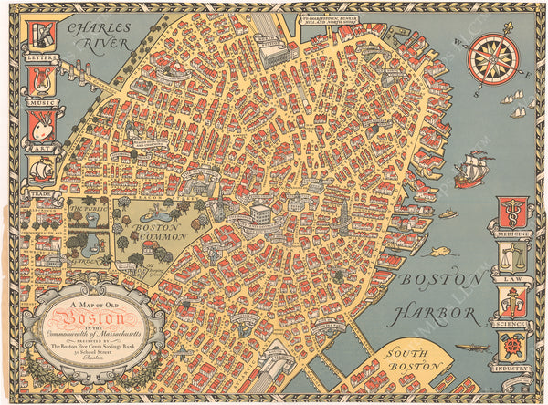Boston, Massachusetts 1929: Map of Olde Boston