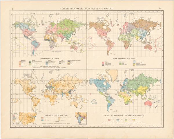 World Map 1899: Religions, Population Density and Trade