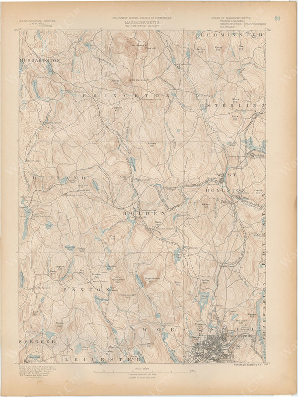 USGS Massachusetts 1890 Plate 020: Worcester Sheet