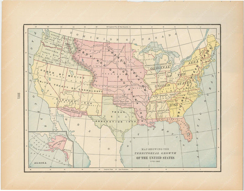 Classical Map 1894: U.S. Territorial Growth 1776-1897