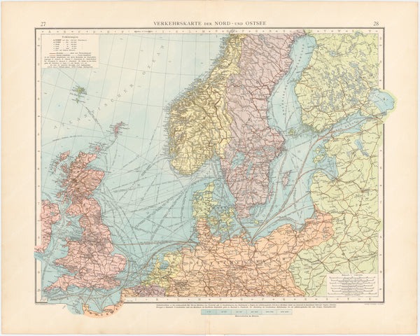 Europe 1899: Transport Map of the North and Baltic Sea