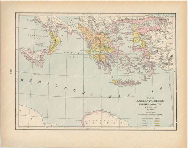 Classical Map 1894: Ancient Greece and Colonies, B.C. 1200-146