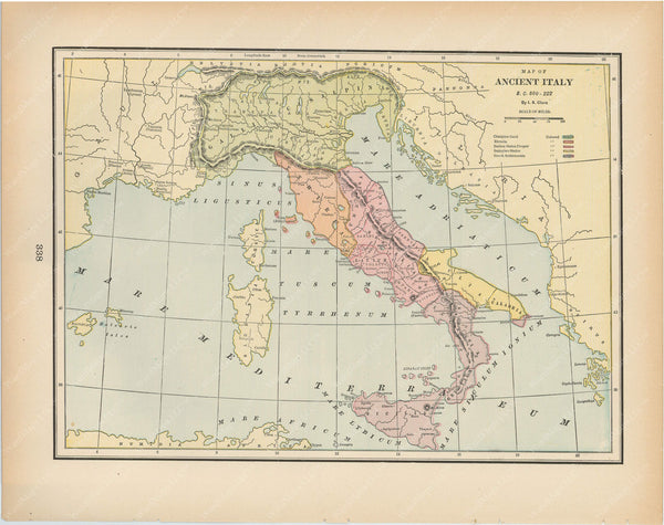 Classical Map 1894: Ancient Italy B.C. 800-222