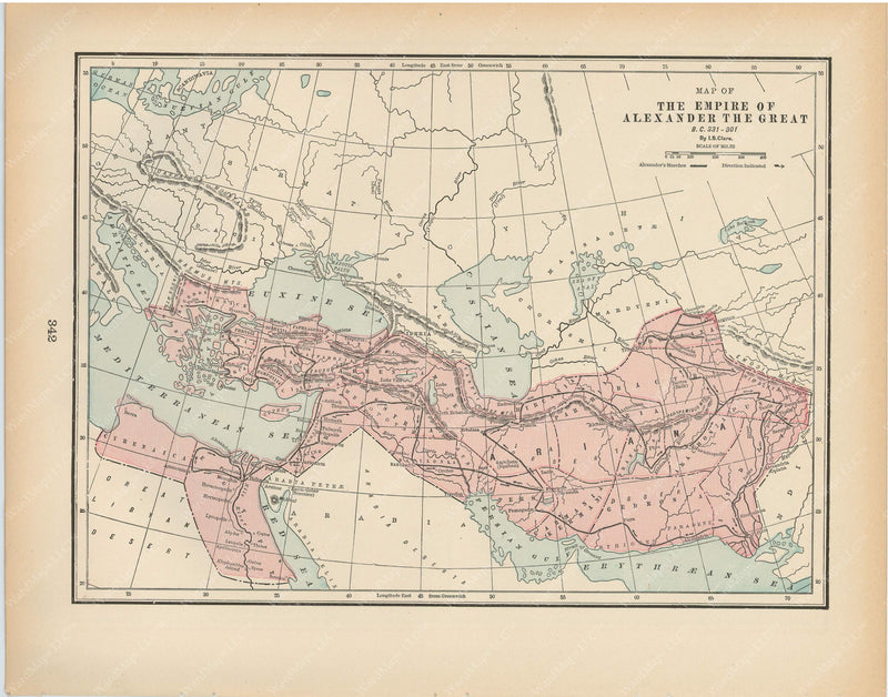 Classical Map 1894: Empire of Alexander The Great, B.C. 331-301