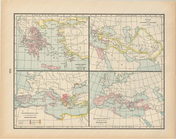 Classical Map 1894: Homeric Greece and Growth of Roman Empire