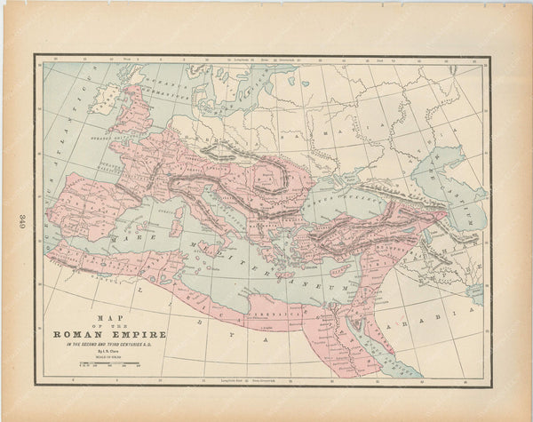 Classical Map 1894: Roman Empire in the 2nd and 3rd Centuries