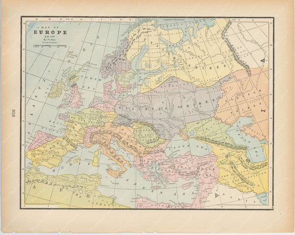 Classical Map 1894: Europe A.D. 800