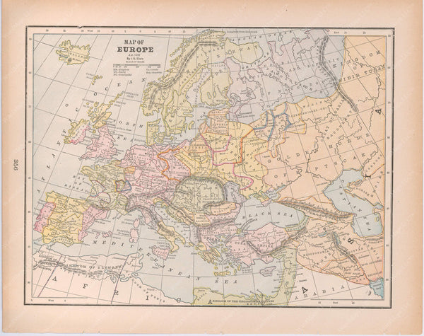 Classical Map 1894: Europe A.D. 1400