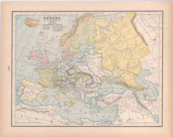 Classical Map 1894: Europe During the Reformation, About A.D. 1550