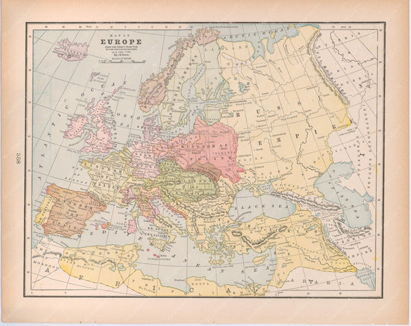 Classical Map 1894: Europe from the Thirty Years War to the French Revolution, A.D. 1648-1789