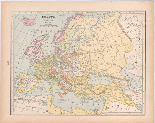 Classical Map 1894: Europe in Napoleon's Time, About A.D. 1810