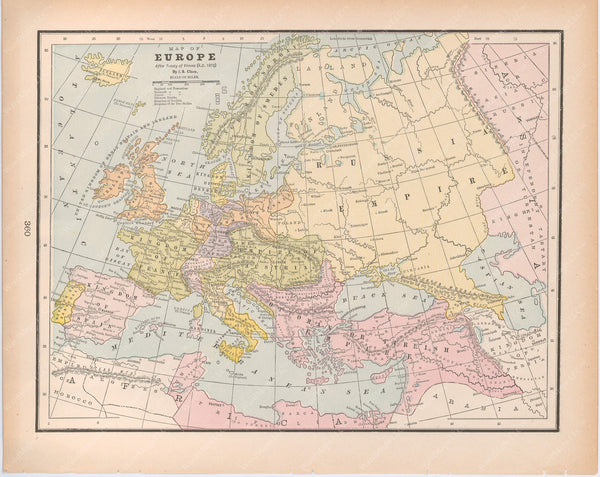Classical Map 1894: Europe After the Treaty of Vienna, A.D. 1815