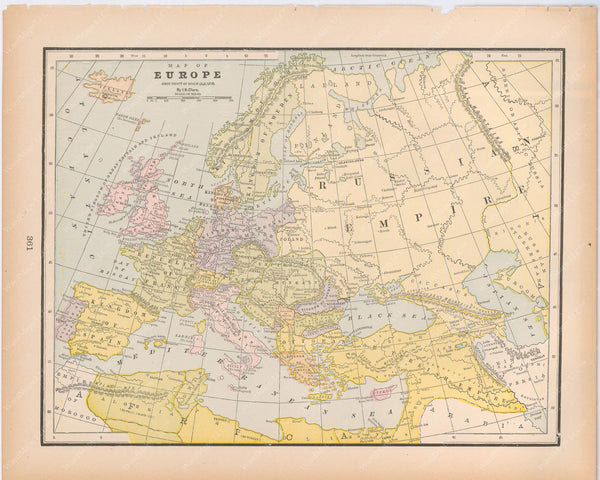 Classical Map 1894: Europe Since the Treaty of Berlin, A.D. 1878