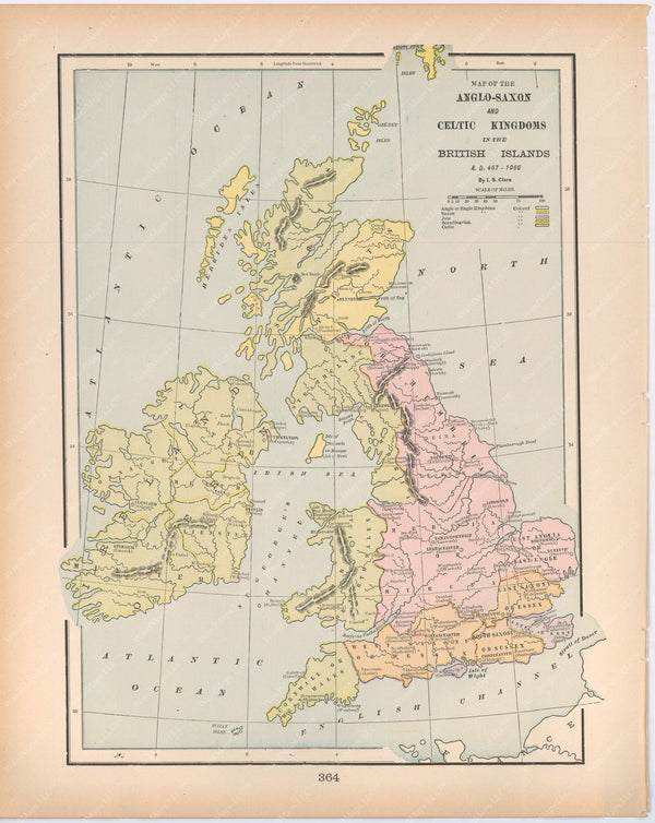 Classical Map 1894: Anglo-Saxon and Celtic Kingdoms in the British Isles A.D. 457-1066