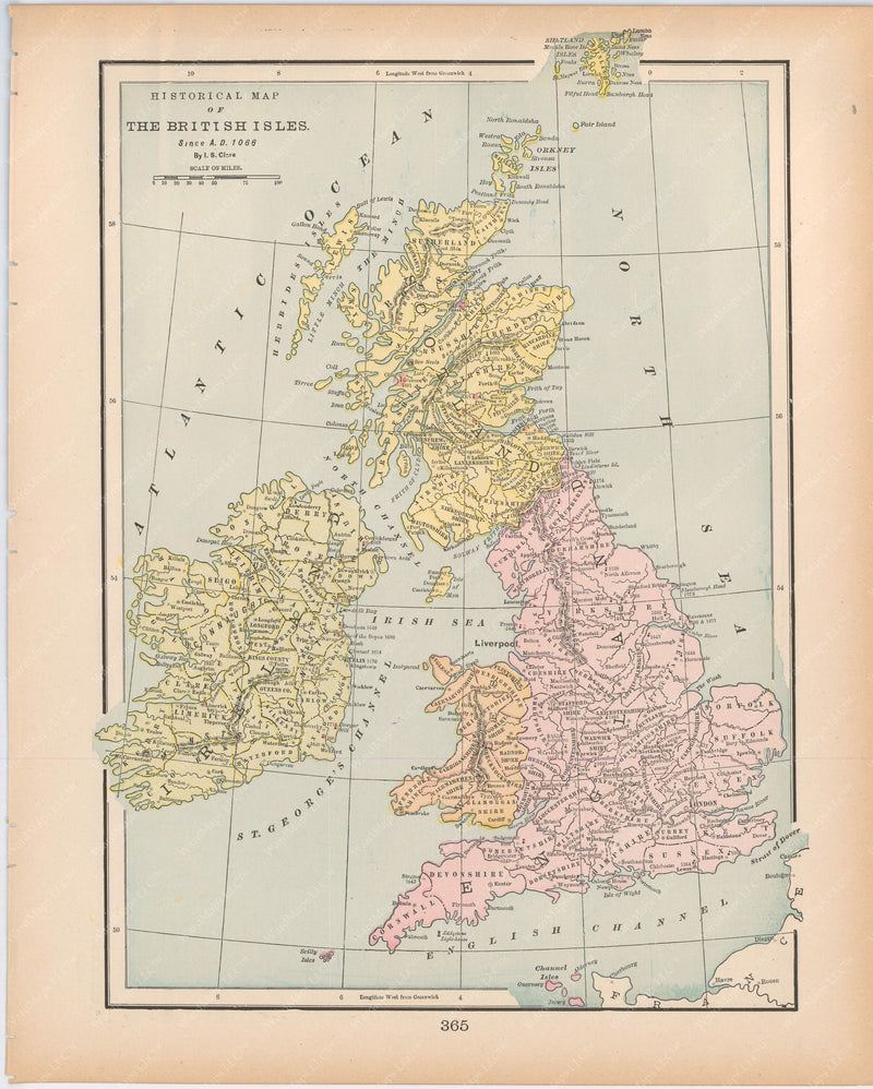 Classical Map 1894: Historical Map of the British Isles Since A.D. 1066