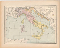 Classical Map 1894: Italy from A.D. 1492-1797