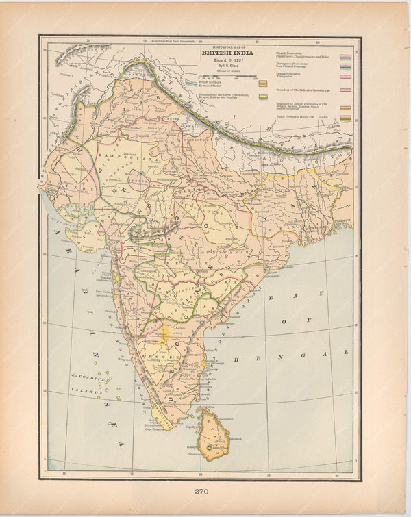 Classical Map 1894: British India Since A.D. 1751