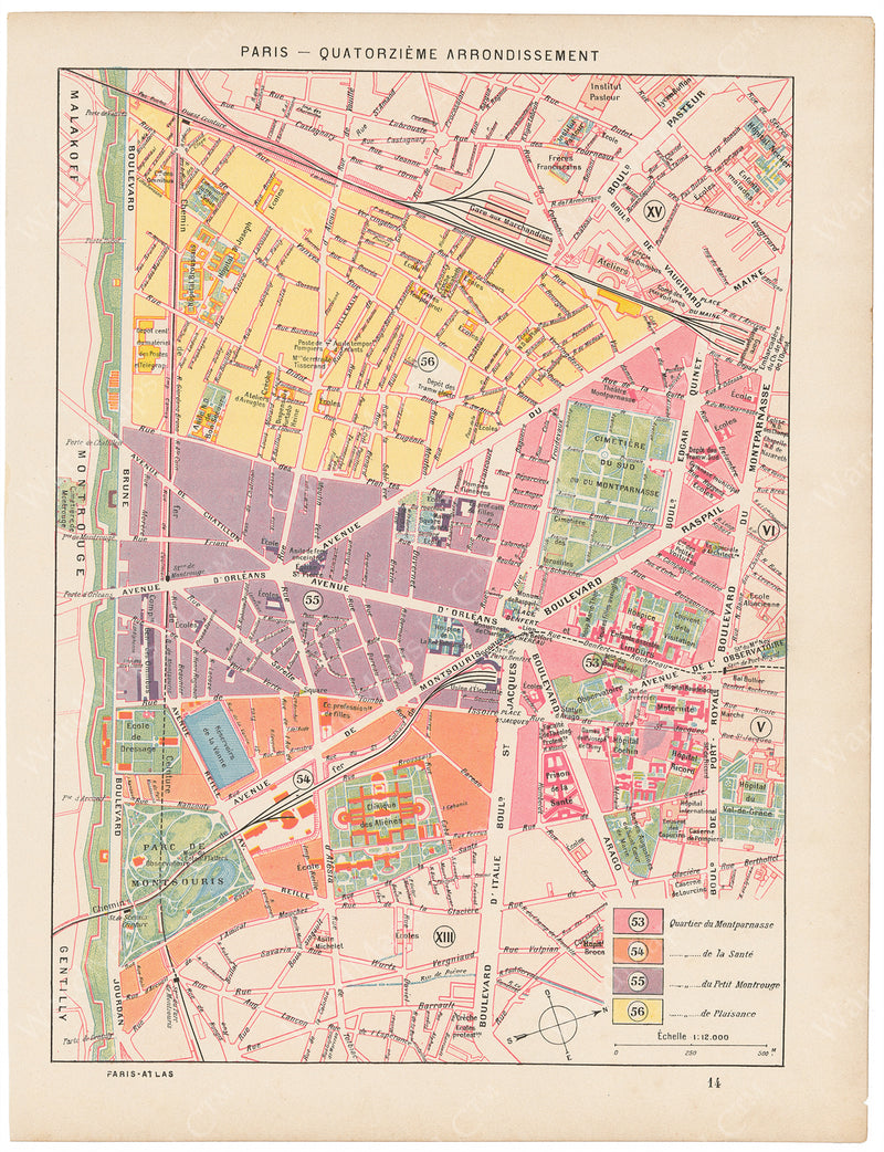 Paris, France Circa 1900: 14th Arrondissement