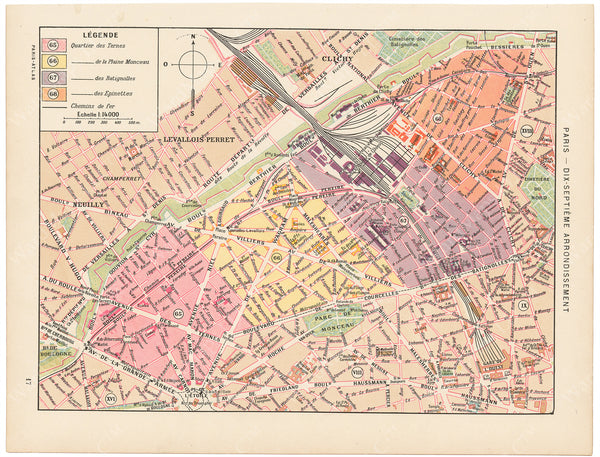 Paris, France Circa 1900: 17th Arrondissement